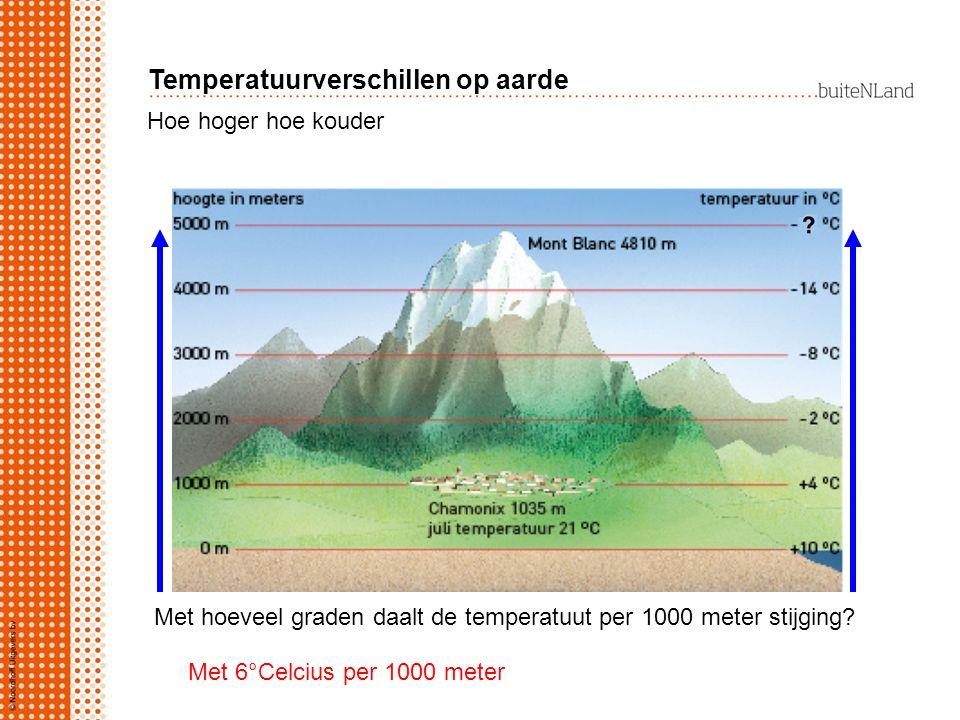 Hoe hoger hoe kouder Met hoeveel graden daalt de temperatuut per 1000 meter stijging? Met 6°Celcius per 1000 meter Temperatuurverschillen op aarde
