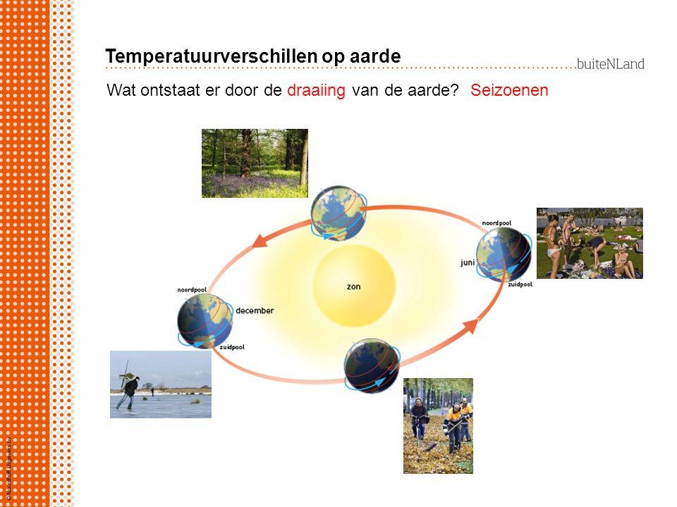 Wat ontstaat er door de draaiing van de aarde?Seizoenen Temperatuurverschillen op aarde