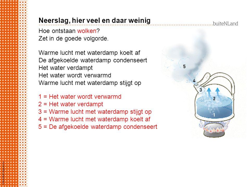 Hoe ontstaan wolken? Zet in de goede volgorde. 1 = Het water wordt verwarmd 2 = Het water verdampt 3 = Warme lucht met waterdamp stijgt op 4 = Warme l