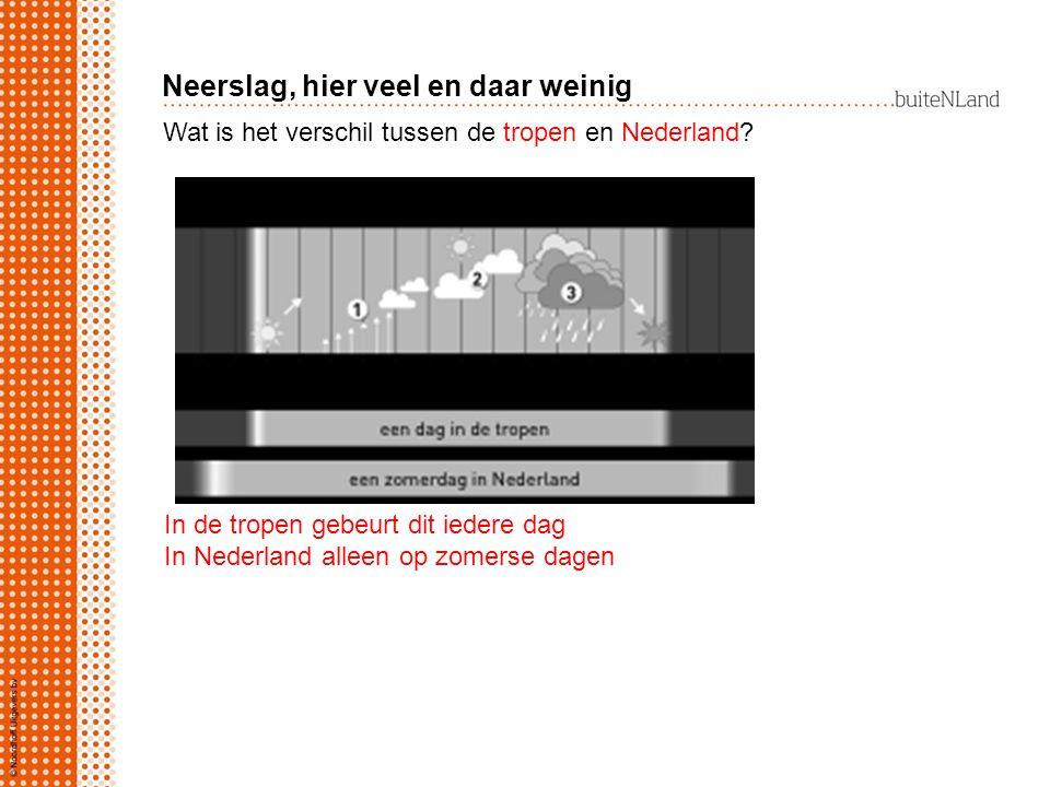 Wat is het verschil tussen de tropen en Nederland? In de tropen gebeurt dit iedere dag In Nederland alleen op zomerse dagen Neerslag, hier veel en daa
