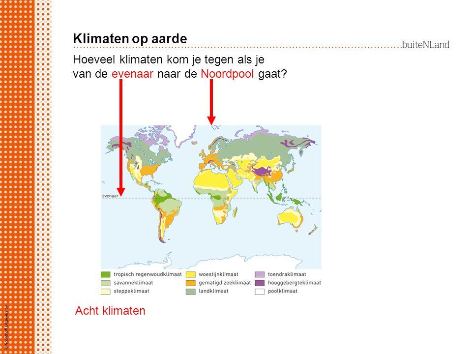 Hoeveel klimaten kom je tegen als je van de evenaar naar de Noordpool gaat? Acht klimaten Klimaten op aarde