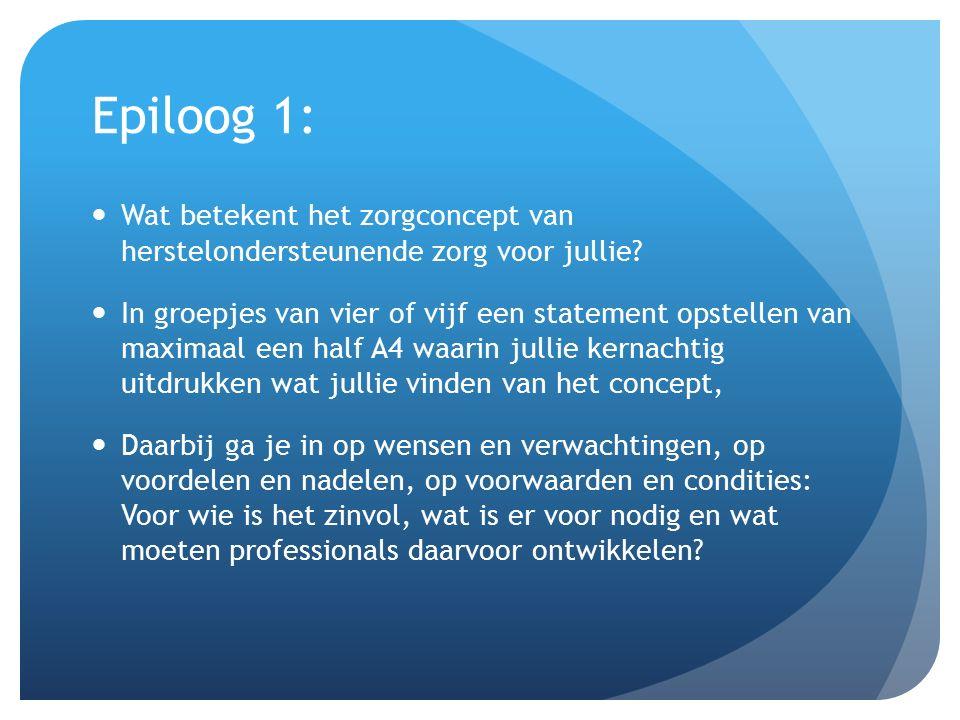 Epiloog 1: Wat betekent het zorgconcept van herstelondersteunende zorg voor jullie? In groepjes van vier of vijf een statement opstellen van maximaal