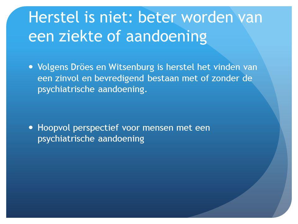 Herstel is niet: beter worden van een ziekte of aandoening Volgens Dröes en Witsenburg is herstel het vinden van een zinvol en bevredigend bestaan met