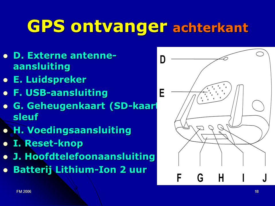 FM 200618 GPS ontvanger achterkant D. Externe antenne- aansluiting D.