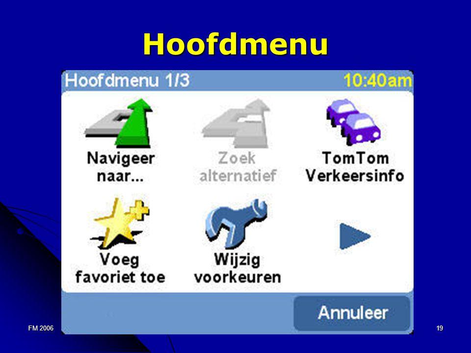 FM 200619 Hoofdmenu