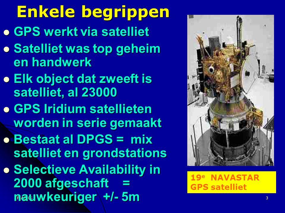 FM 20063 Enkele begrippen GPS werkt via satelliet GPS werkt via satelliet Satelliet was top geheim en handwerk Satelliet was top geheim en handwerk Elk object dat zweeft is satelliet, al 23000 Elk object dat zweeft is satelliet, al 23000 GPS Iridium satellieten worden in serie gemaakt GPS Iridium satellieten worden in serie gemaakt Bestaat al DPGS = mix satelliet en grondstations Bestaat al DPGS = mix satelliet en grondstations Selectieve Availability in 2000 afgeschaft = nauwkeuriger +/- 5m Selectieve Availability in 2000 afgeschaft = nauwkeuriger +/- 5m 19 e NAVASTAR GPS satelliet