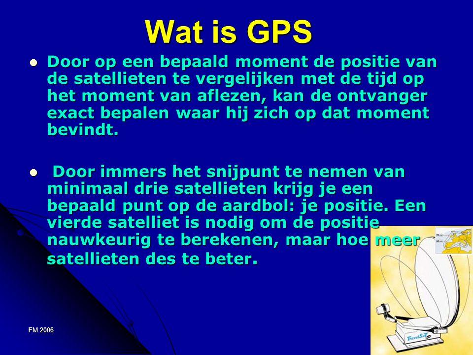 FM 20065 Wat is GPS Door op een bepaald moment de positie van de satellieten te vergelijken met de tijd op het moment van aflezen, kan de ontvanger exact bepalen waar hij zich op dat moment bevindt.