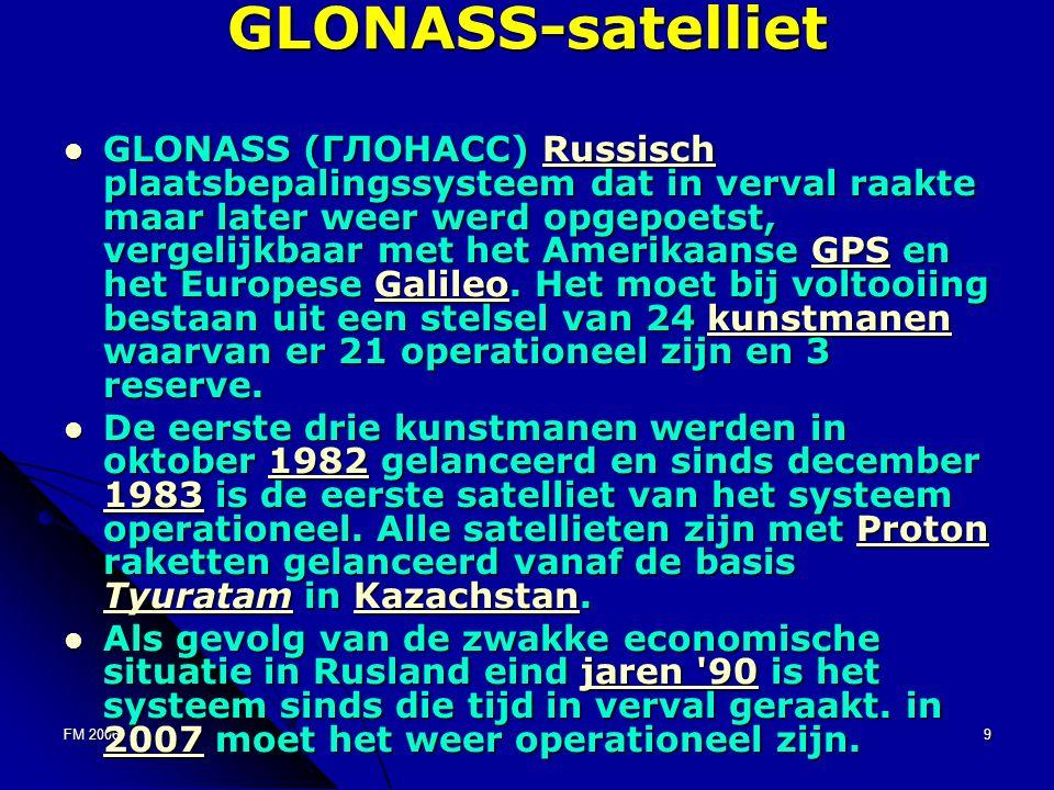 FM 20069GLONASS-satelliet GLONASS (ГЛОНАСС) Russisch plaatsbepalingssysteem dat in verval raakte maar later weer werd opgepoetst, vergelijkbaar met het Amerikaanse GPS en het Europese Galileo.