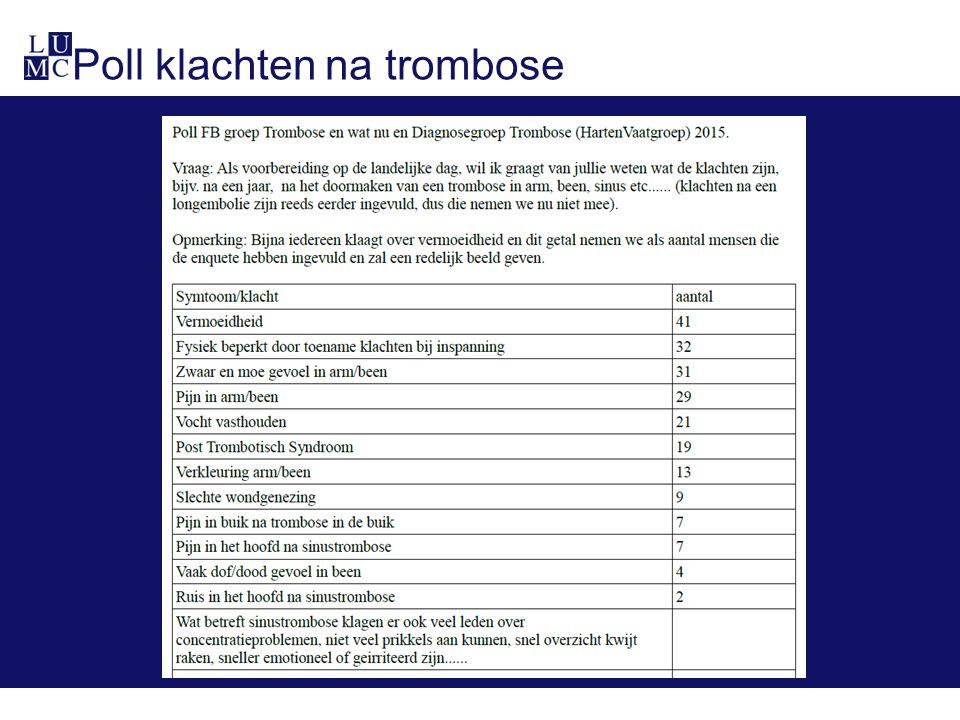 Poll klachten na trombose