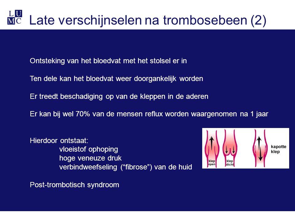 Late verschijnselen na trombosebeen (2) Ontsteking van het bloedvat met het stolsel er in Ten dele kan het bloedvat weer doorgankelijk worden Er treed