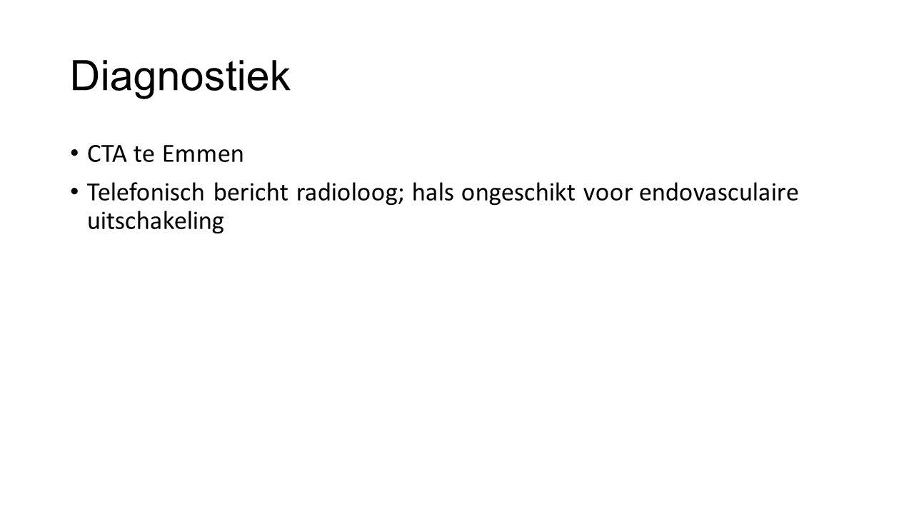 Diagnostiek CTA te Emmen Telefonisch bericht radioloog; hals ongeschikt voor endovasculaire uitschakeling