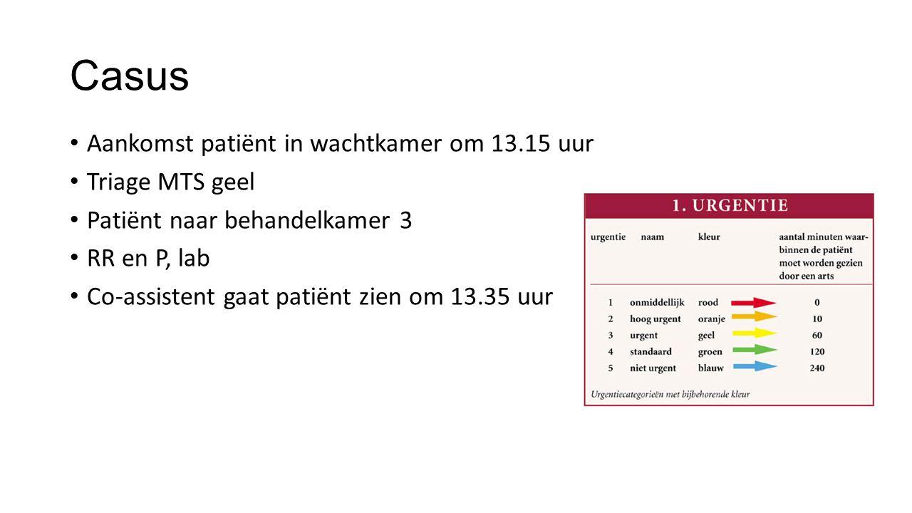 Casus Aankomst patiënt in wachtkamer om 13.15 uur Triage MTS geel Patiënt naar behandelkamer 3 RR en P, lab Co-assistent gaat patiënt zien om 13.35 uu