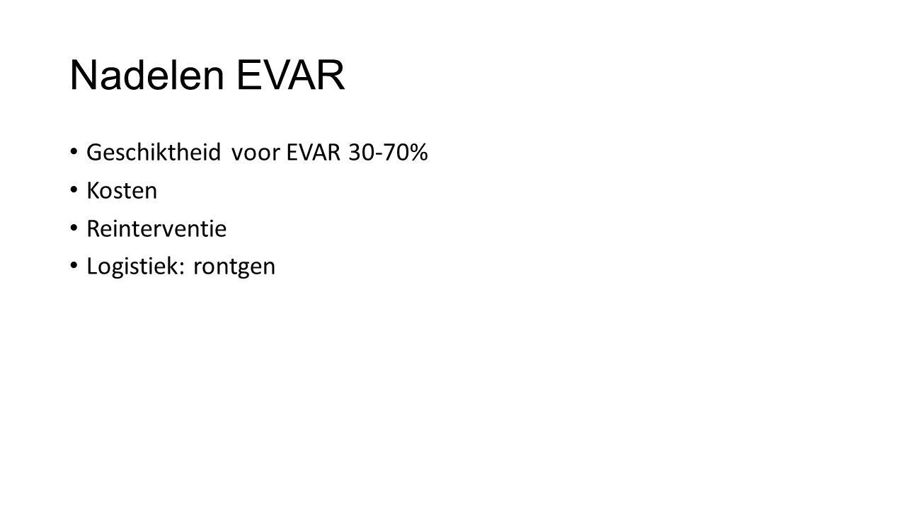 Nadelen EVAR Geschiktheid voor EVAR 30-70% Kosten Reinterventie Logistiek: rontgen