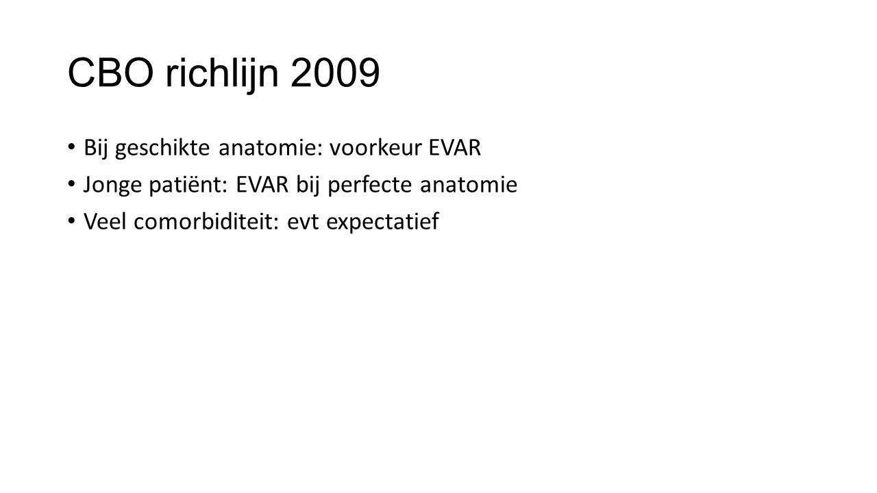 CBO richlijn 2009 Bij geschikte anatomie: voorkeur EVAR Jonge patiënt: EVAR bij perfecte anatomie Veel comorbiditeit: evt expectatief
