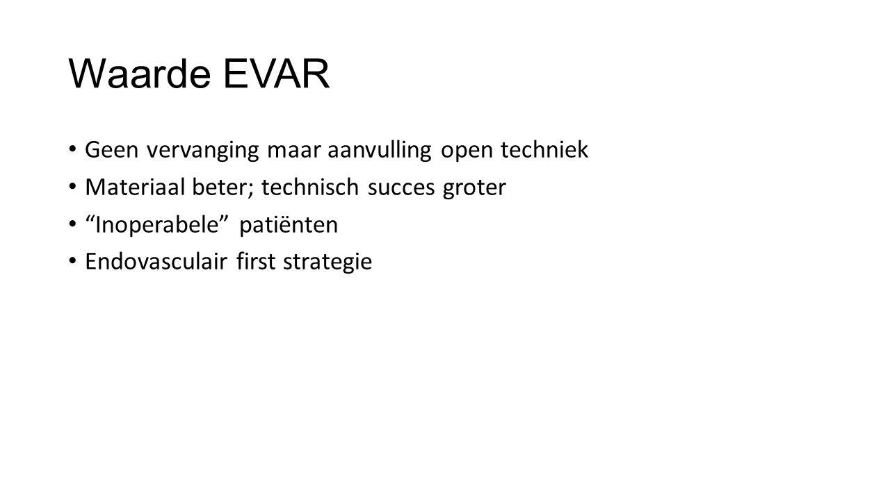 """Waarde EVAR Geen vervanging maar aanvulling open techniek Materiaal beter; technisch succes groter """"Inoperabele"""" patiënten Endovasculair first strateg"""