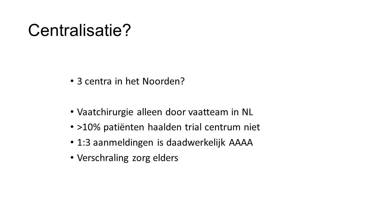 Centralisatie? 3 centra in het Noorden? Vaatchirurgie alleen door vaatteam in NL >10% patiënten haalden trial centrum niet 1:3 aanmeldingen is daadwer