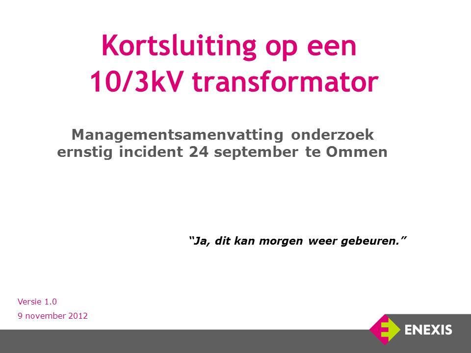 Kortsluiting op een 10/3kV transformator Managementsamenvatting onderzoek ernstig incident 24 september te Ommen Versie 1.0 9 november 2012 Ja, dit kan morgen weer gebeuren.