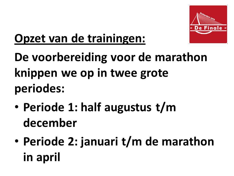 Opzet van de trainingen: De voorbereiding voor de marathon knippen we op in twee grote periodes: Periode 1: half augustus t/m december Periode 2: januari t/m de marathon in april