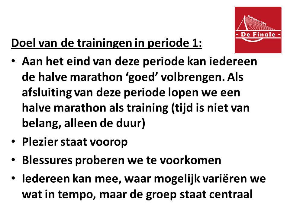 Doel van de trainingen in periode 1: Aan het eind van deze periode kan iedereen de halve marathon 'goed' volbrengen.