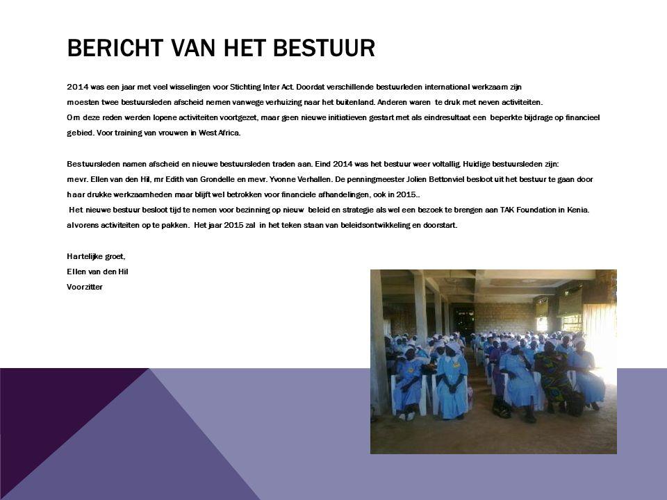 BERICHT VAN HET BESTUUR 2014 was een jaar met veel wisselingen voor Stichting Inter Act.