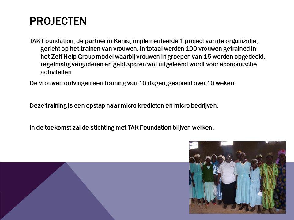 PROJECTEN TAK Foundation, de partner in Kenia, implementeerde 1 project van de organizatie, gericht op het trainen van vrouwen.