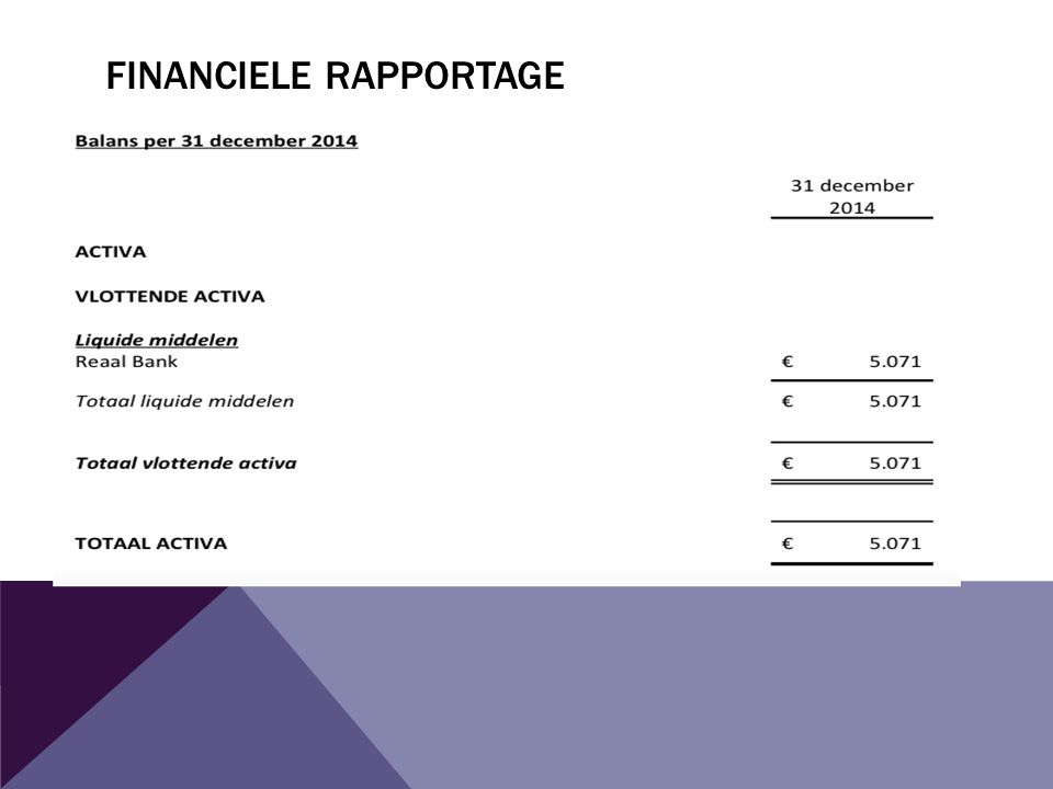 FINANCIELE RAPPORTAGE
