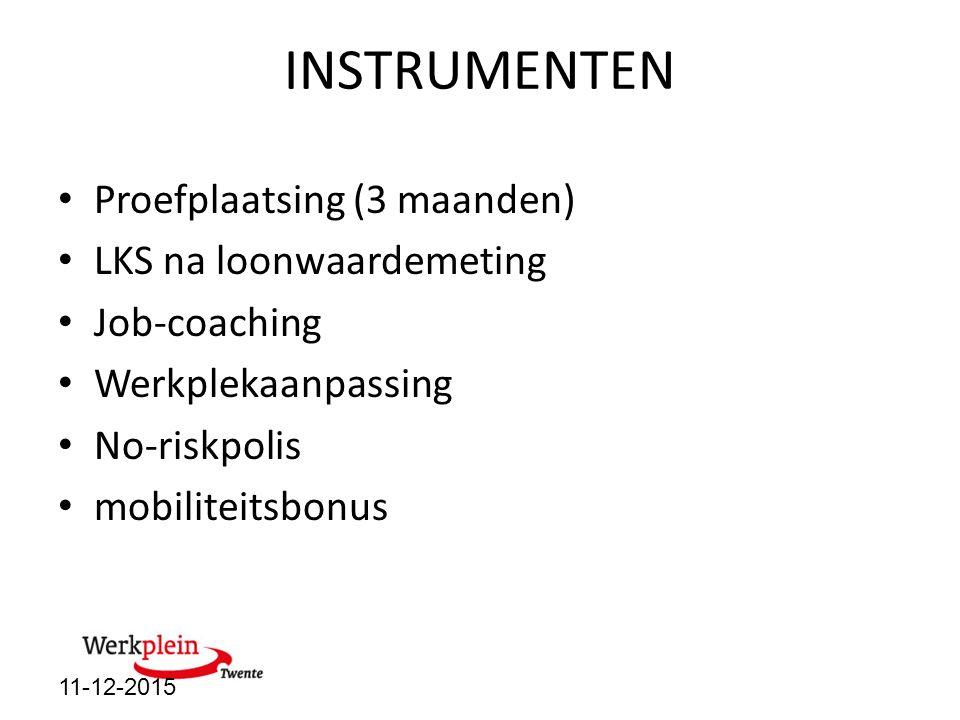 INSTRUMENTEN Proefplaatsing (3 maanden) LKS na loonwaardemeting Job-coaching Werkplekaanpassing No-riskpolis mobiliteitsbonus 11-12-2015