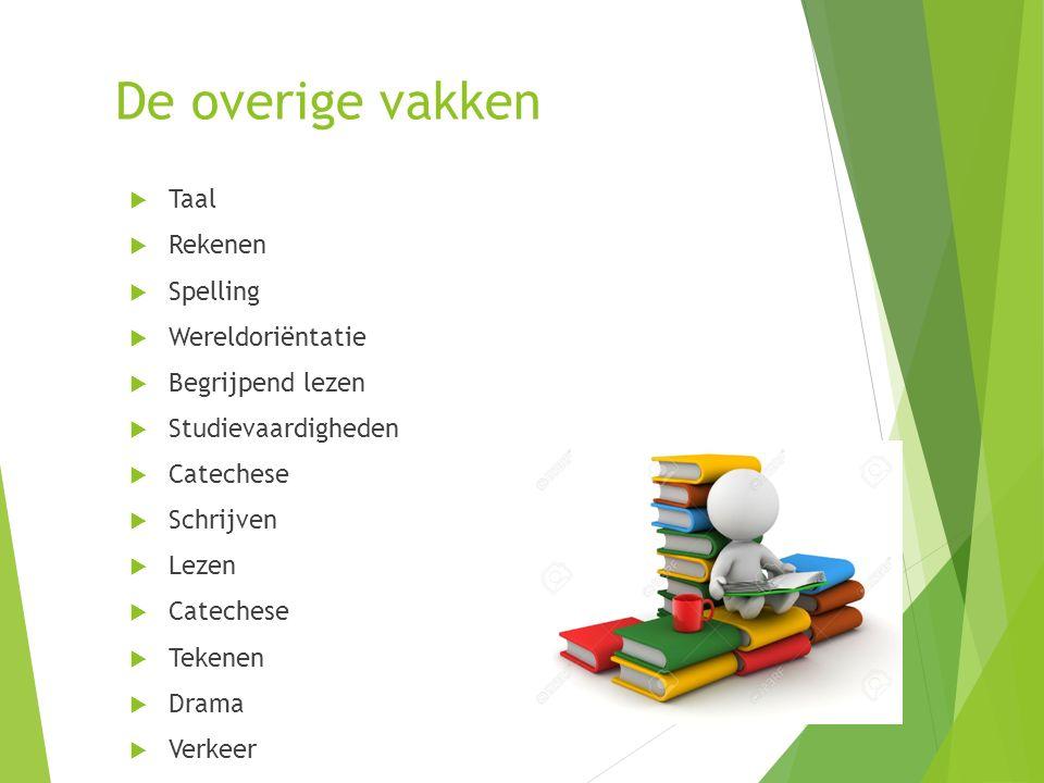 De overige vakken  Taal  Rekenen  Spelling  Wereldoriëntatie  Begrijpend lezen  Studievaardigheden  Catechese  Schrijven  Lezen  Catechese  Tekenen  Drama  Verkeer