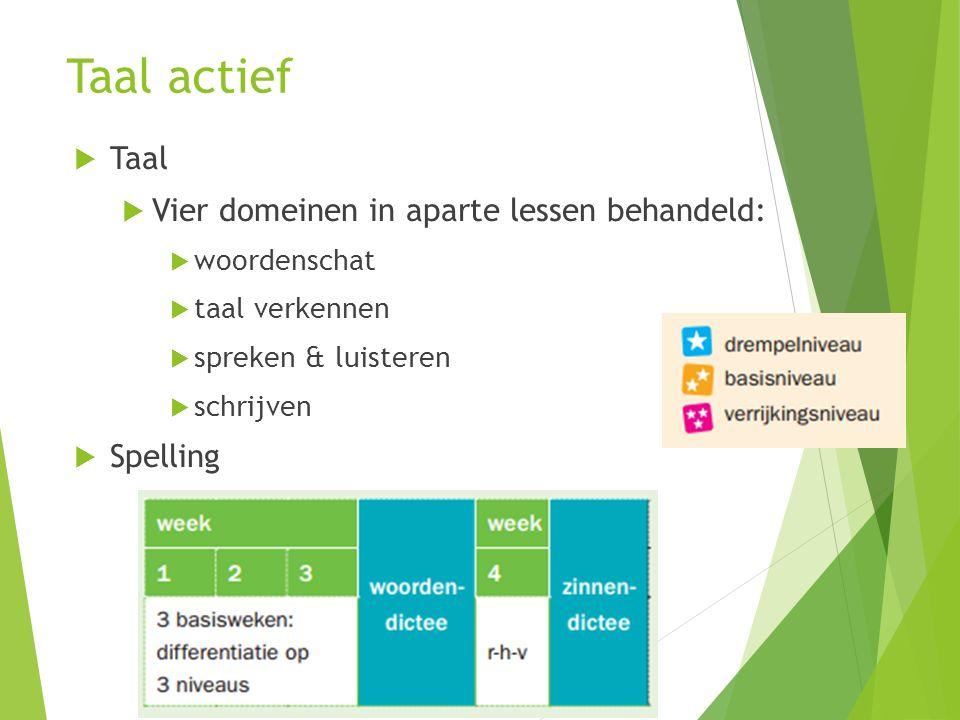 Taal actief  Taal  Vier domeinen in aparte lessen behandeld:  woordenschat  taal verkennen  spreken & luisteren  schrijven  Spelling