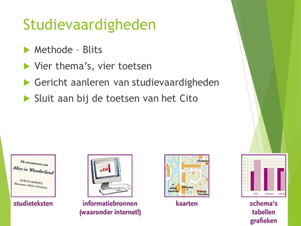 Studievaardigheden  Methode – Blits  Vier thema's, vier toetsen  Gericht aanleren van studievaardigheden  Sluit aan bij de toetsen van het Cito