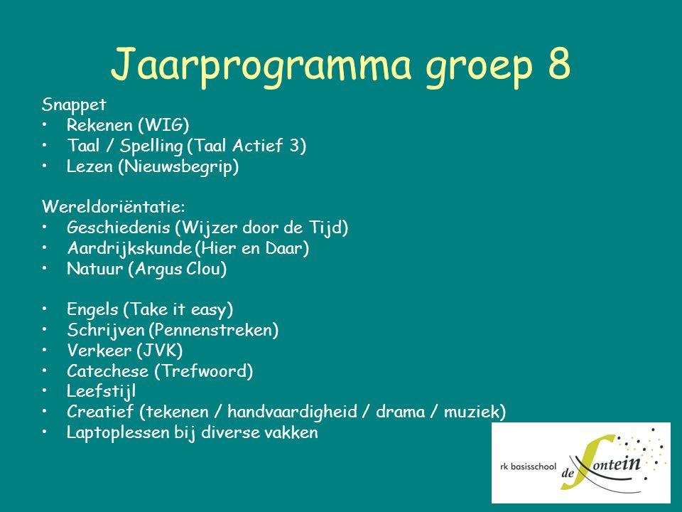 Jaarprogramma groep 8 Snappet Rekenen (WIG) Taal / Spelling (Taal Actief 3) Lezen (Nieuwsbegrip) Wereldoriëntatie: Geschiedenis (Wijzer door de Tijd)