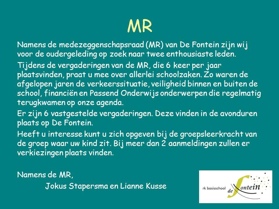MR Namens de medezeggenschapsraad (MR) van De Fontein zijn wij voor de oudergeleding op zoek naar twee enthousiaste leden. Tijdens de vergaderingen va
