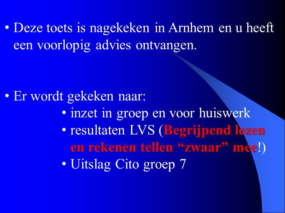 Deze toets is nagekeken in Arnhem en u heeft een voorlopig advies ontvangen.