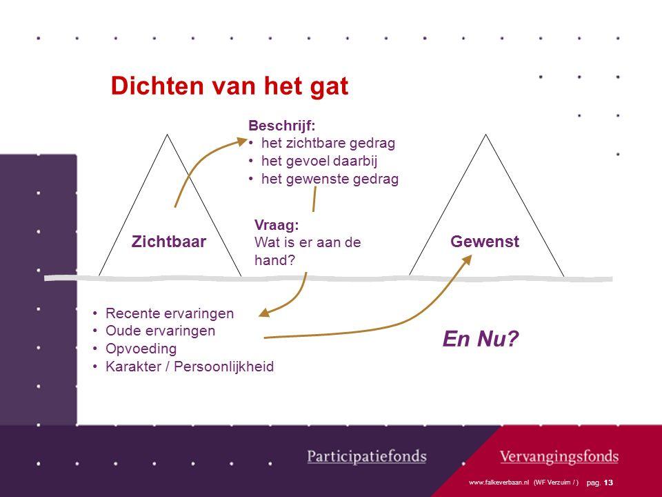 www.falkeverbaan.nl (WF Verzuim / ) pag. 13 Recente ervaringen Oude ervaringen Opvoeding Karakter / Persoonlijkheid Dichten van het gat GewenstZichtba
