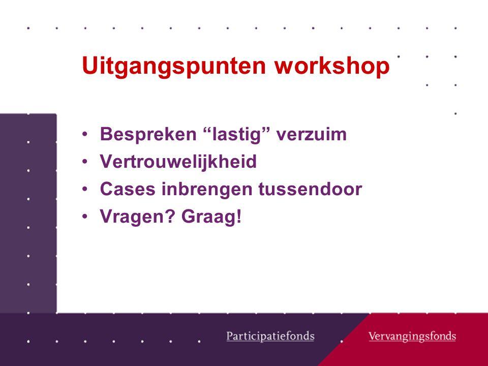Uitgangspunten workshop Bespreken lastig verzuim Vertrouwelijkheid Cases inbrengen tussendoor Vragen.