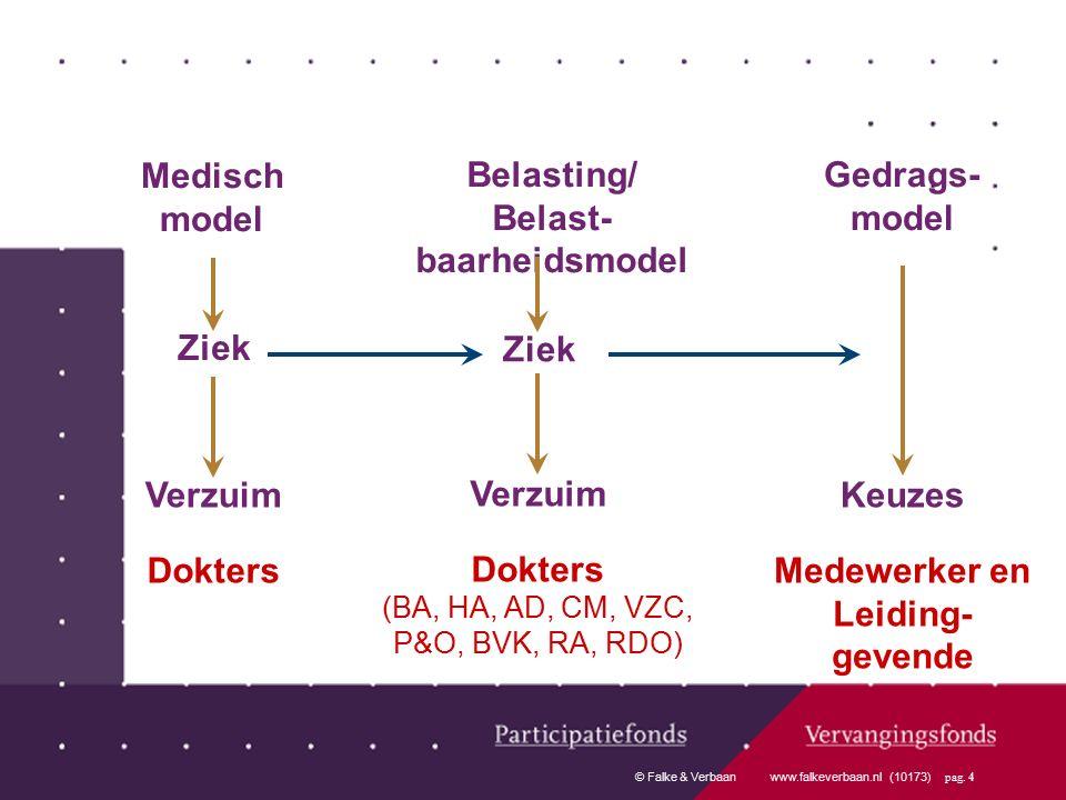 © Falke & Verbaan www.falkeverbaan.nl (10173) pag. 4 Gedrags- model Keuzes Medewerker en Leiding- gevende Medisch model Ziek Verzuim Dokters Belasting