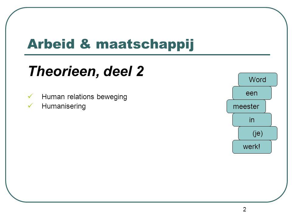 Arbeid & maatschappij Theorieen, deel 2 Technologisme Instrumentele visie Arbeidsprocesbenadering Moderne sociotechniek Word een meester in (je) werk.