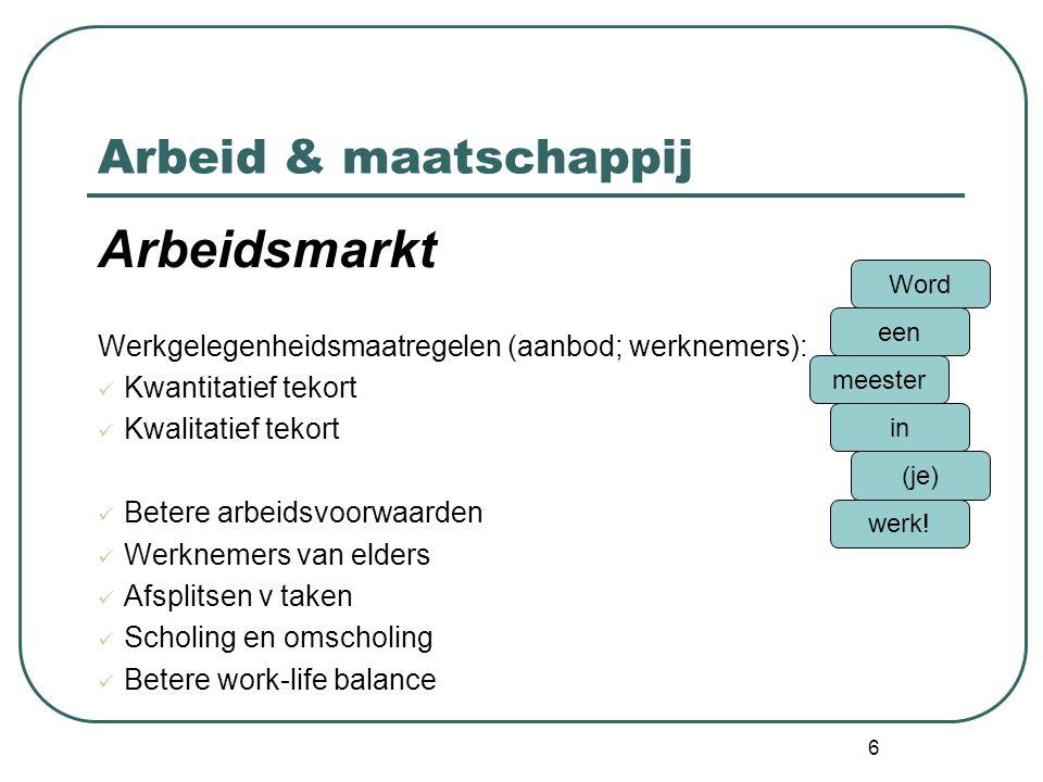 Arbeid & maatschappij Arbeidsmarkt Primair InternExtern Secundair Word een meester in (je) werk.