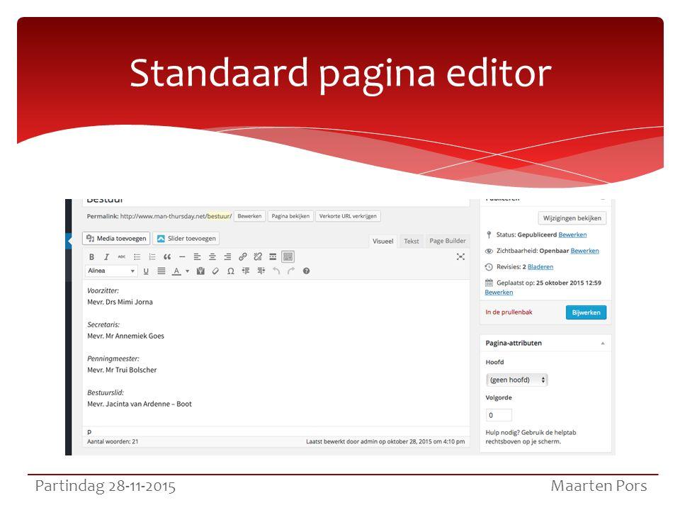 Standaard pagina editor Partindag 28-11-2015 Maarten Pors