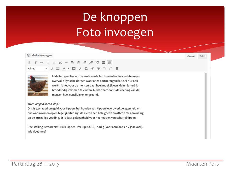 De knoppen Foto invoegen Partindag 28-11-2015 Maarten Pors