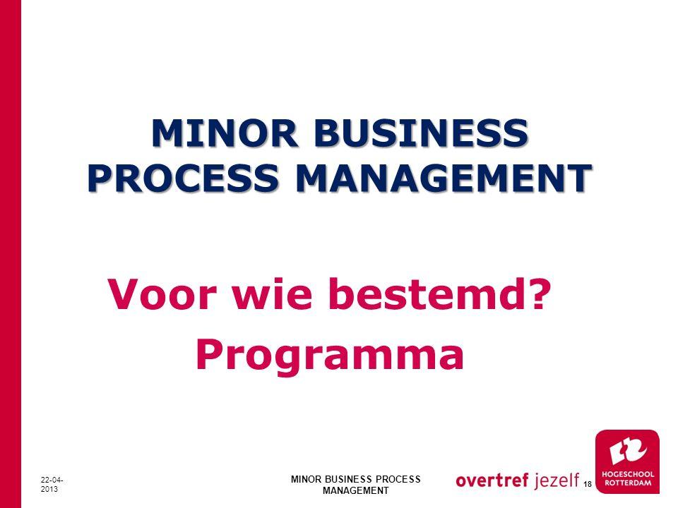 MINOR BUSINESS PROCESS MANAGEMENT Voor wie bestemd? Programma 22-04- 2013 MINOR BUSINESS PROCESS MANAGEMENT 18