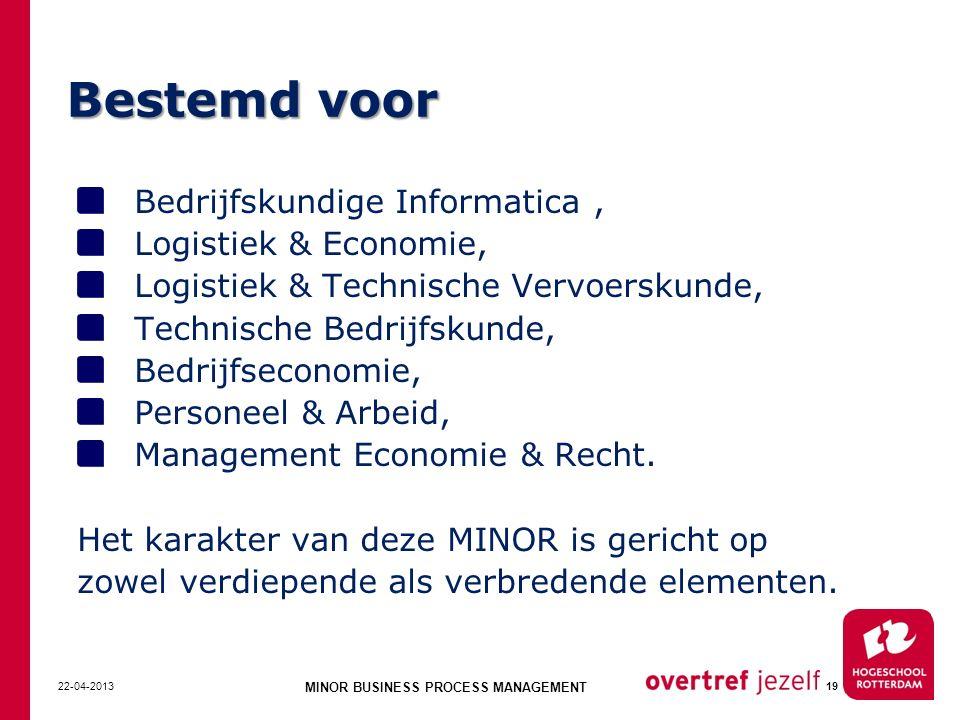 Bestemd voor Bedrijfskundige Informatica, Logistiek & Economie, Logistiek & Technische Vervoerskunde, Technische Bedrijfskunde, Bedrijfseconomie, Pers