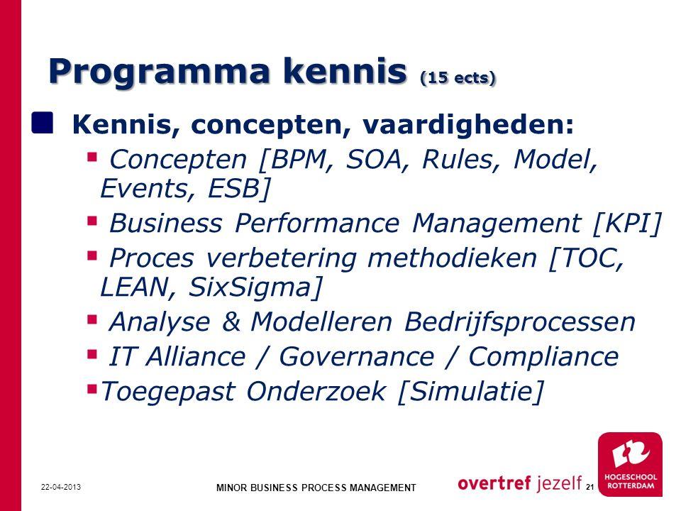Programma kennis (15 ects) Kennis, concepten, vaardigheden:  Concepten [BPM, SOA, Rules, Model, Events, ESB]  Business Performance Management [KPI]  Proces verbetering methodieken [TOC, LEAN, SixSigma]  Analyse & Modelleren Bedrijfsprocessen  IT Alliance / Governance / Compliance  Toegepast Onderzoek [Simulatie] 22-04-2013 MINOR BUSINESS PROCESS MANAGEMENT 21