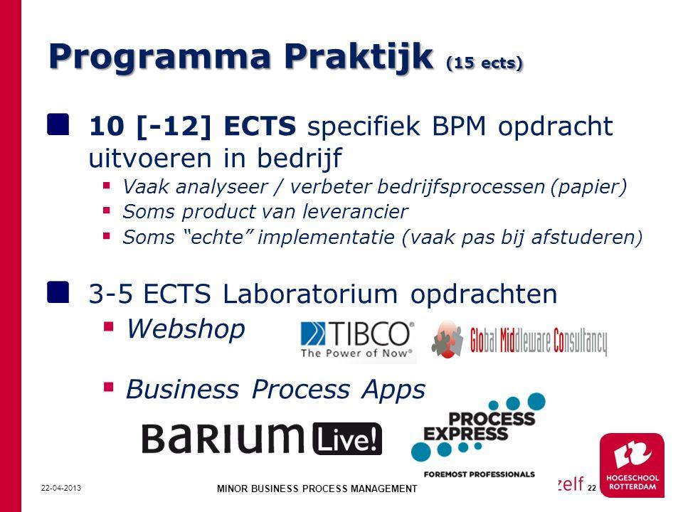 Programma Praktijk (15 ects) 10 [-12] ECTS specifiek BPM opdracht uitvoeren in bedrijf  Vaak analyseer / verbeter bedrijfsprocessen (papier)  Soms p