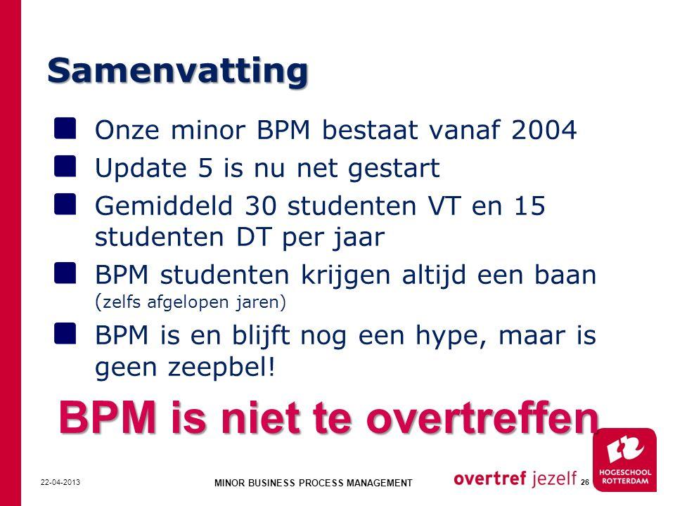 Samenvatting Onze minor BPM bestaat vanaf 2004 Update 5 is nu net gestart Gemiddeld 30 studenten VT en 15 studenten DT per jaar BPM studenten krijgen altijd een baan ( zelfs afgelopen jaren) BPM is en blijft nog een hype, maar is geen zeepbel.