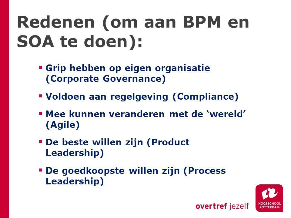 Redenen (om aan BPM en SOA te doen):  Grip hebben op eigen organisatie (Corporate Governance)  Voldoen aan regelgeving (Compliance)  Mee kunnen veranderen met de 'wereld' (Agile)  De beste willen zijn (Product Leadership)  De goedkoopste willen zijn (Process Leadership)