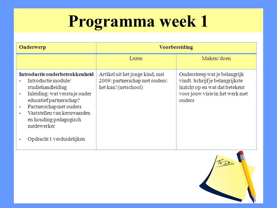 Programma week 1 OnderwerpVoorbereiding LezenMaken/ doen Introductie ouderbetrokkenheid -Introductie module/ studiehandleiding -Inleiding: wat versta