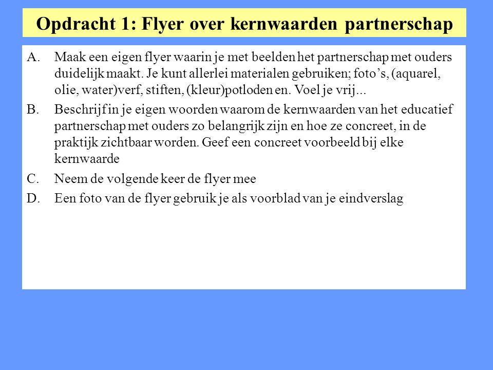 Opdracht 1: Flyer over kernwaarden partnerschap A.Maak een eigen flyer waarin je met beelden het partnerschap met ouders duidelijk maakt. Je kunt alle
