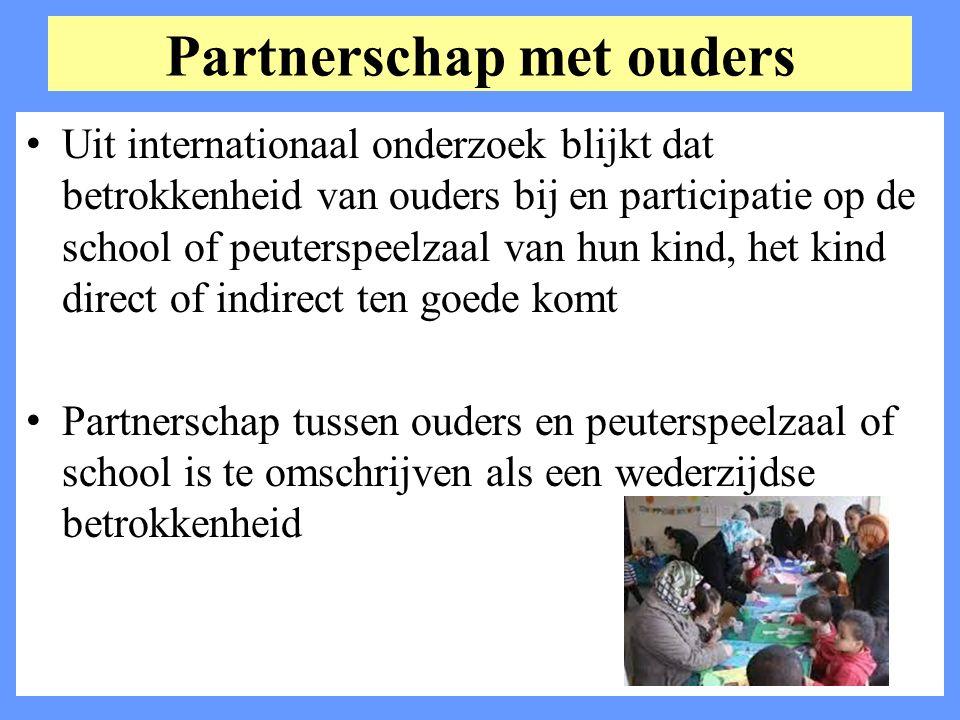 Partnerschap met ouders Uit internationaal onderzoek blijkt dat betrokkenheid van ouders bij en participatie op de school of peuterspeelzaal van hun k