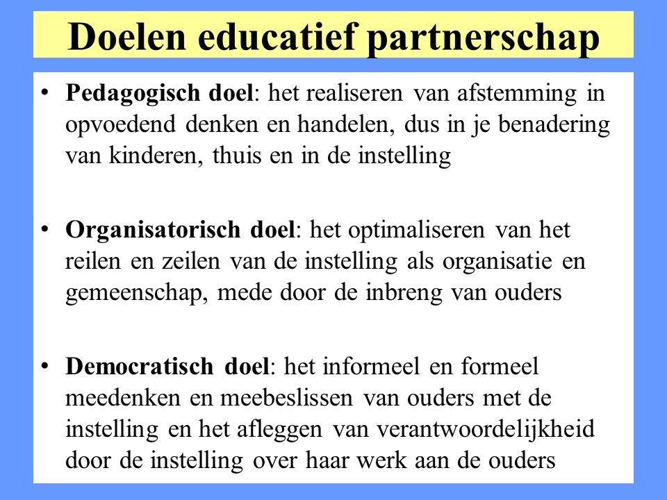 Doelen educatief partnerschap Pedagogisch doel: het realiseren van afstemming in opvoedend denken en handelen, dus in je benadering van kinderen, thui